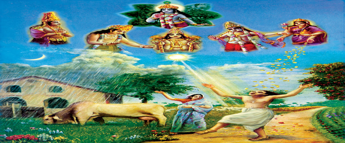 Devi goddess , shri krishna , and others gods in the sky blessing over people