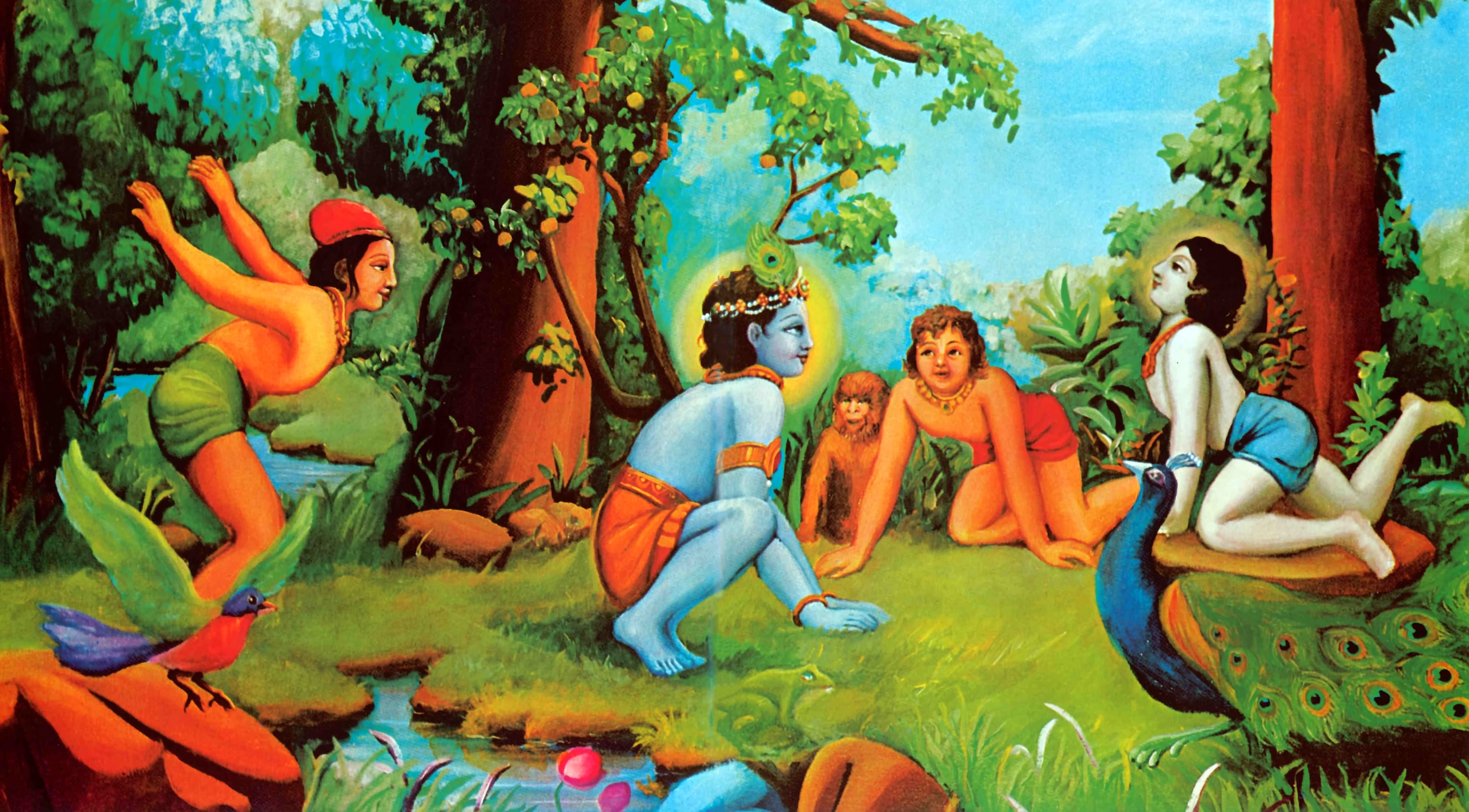 Krishna-Plays-with-His-Cowherd-Boyfriends-in-Vrindavan