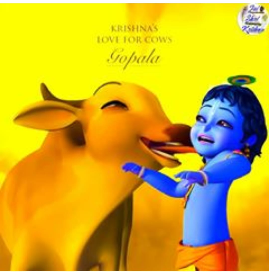 Animated little krishna with blue with a cow licking him