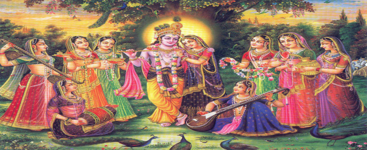 radha krishna with gopis and music instuments withthem