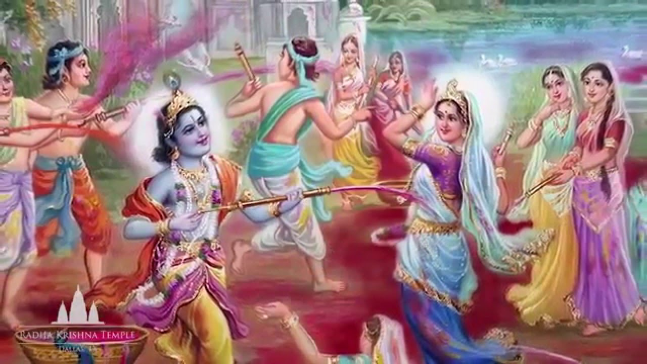 central attraction of male & female,Lord Krishna, Color, Holi, Happiness