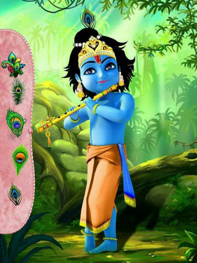 Little Krishna with his flute
