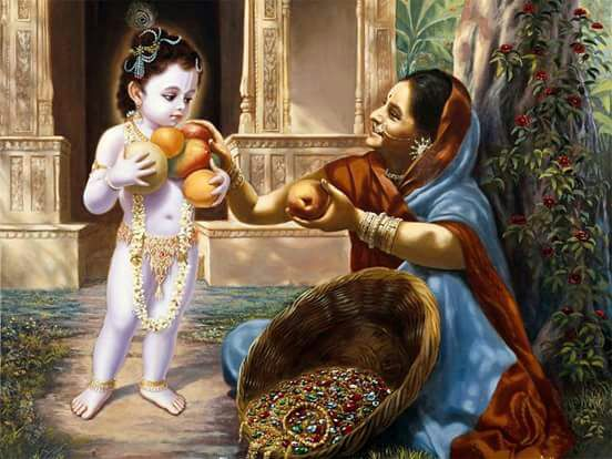 Little Young Krishna with His Grandmaa